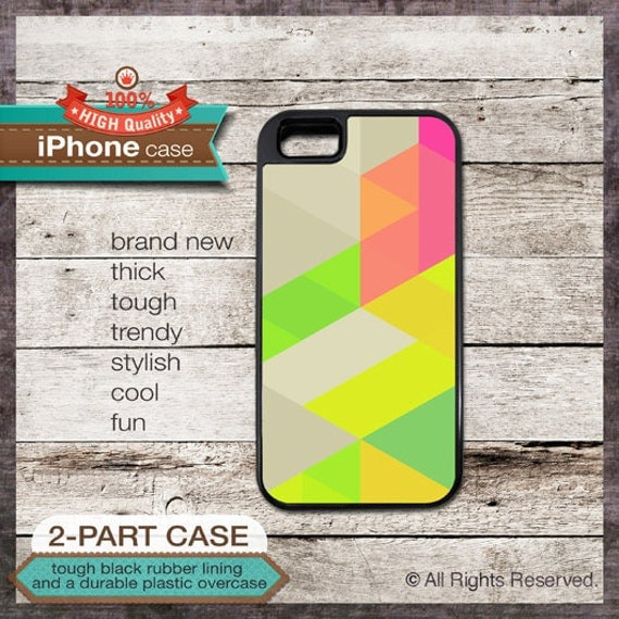 iPhone 5 Case Neon Triangles Design No. 1 with Bright Green, Yellow, Magenta - Design Cover 98