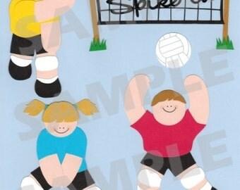 Volleyball Digital Scrapbook Embellishment