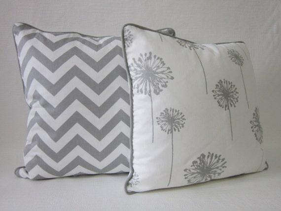 Grey Chevron Throw Pillow : Gray chevron Grey Dandelion throw pillow zipper by pillowpuff