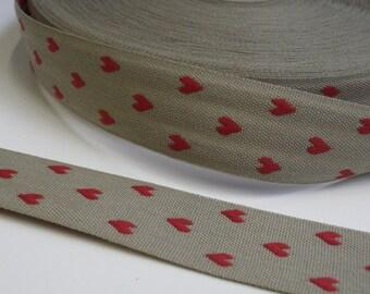"1 m Woven Ribbon ""Heart"" 24 mm w"
