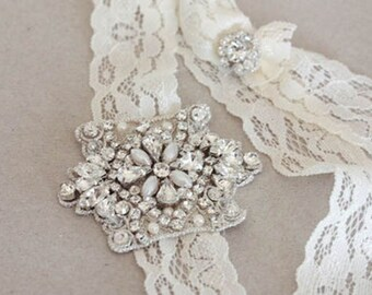 Beaded Lace Garter   -  Viva Mini Silver  (Made to Order)