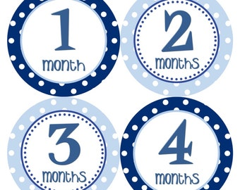 Baby Month Stickers Monthly Milestone Stickers Baby Boy Blue 12 Month Sticker Monthly Milestone Sticker Baby Shower Gift Photo Prop Tom