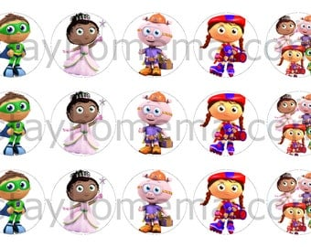 INSTANT DOWNLOAD One Inch 4x6 Bottlecap Images: Super Why