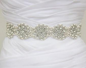 ROXANNE- Vintage Inspired Crystal And Pearls Sash, Rhinestone Bridal Belt, Wedding Beaded Sash, Rhinestone Wedding Belts