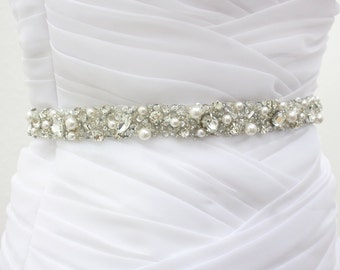 "Best Seller - MONACO II - 3/4"" Swarovski Pearls And Rhinestones Encrusted Bridal Sash, Wedding Beaded Belt, Crystal Belts"