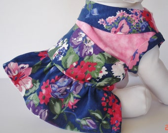 Dog Dress, Small Pet Clothing, Harness Dress, Pink Floral Ruffled Dress