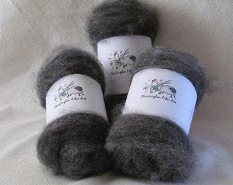 Alpaca Batts, Alpaca Fiber, Grey Alpaca Fiber
