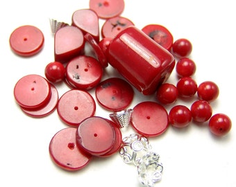 Red Bamboo Coral Bead Set with Caps  1119