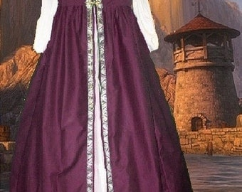 FREE SHIP Medieval Renaissance Gown SCA Garb Costume Burgundy Wine Irish Style Overdress SzFlex lxl