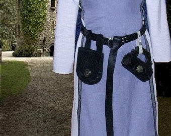 FREE SHIP Medieval SCA Garb Renaissance Gown Sky Over Snow Tabard Kirtle Undergown 2pc Sdlacg lxl