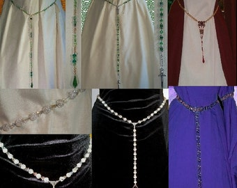 SCA Garb Jewelry Renaissance Medieval Drop Waist Girdle Belt CUSTOM Colors Crystals Metaltone SHIPCHARGEonly