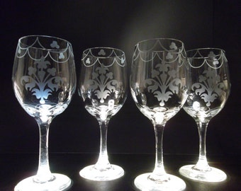 Etched wine glasses with scalloped design set.  Wedding gift, bridesmaid gift.