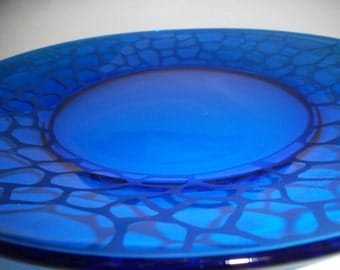 Etched glass plate.  Cobalt blue, wedding gift, goody gift plate.