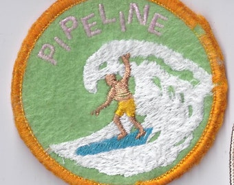 Pipeline Surfing Hawaii Patch Old School Surf Hang 10 Ten Made in USA Vintage Old Stock