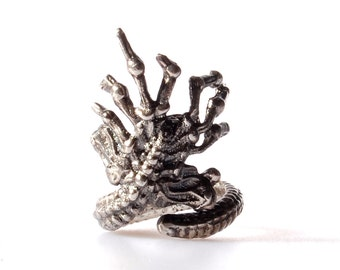 Alien Face Hugger Ring Sterling Silver
