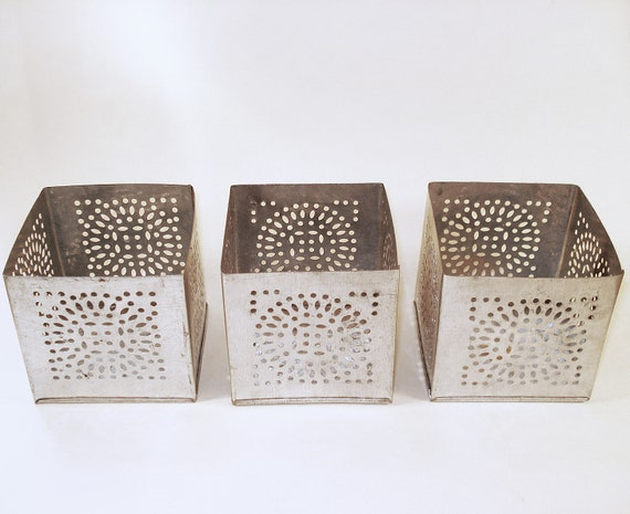 Vintage 3 tin candle holders punched tin votive candles - Punched metal candle holder ...