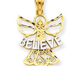 Two Tone Believe Angel Pendant (JC-882)