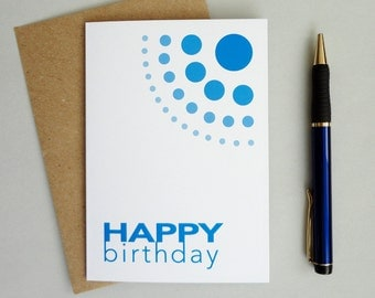 Happy birthday card blue geometric print card ombre dots