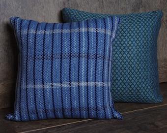 Light Blue Striped Hand Woven Cushion
