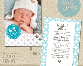 5x7 Birth Announcement Template Baby Announcement | Etsy