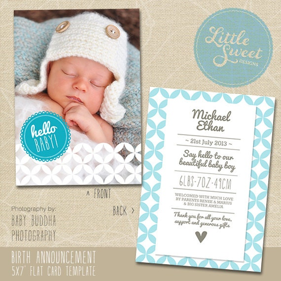 5x7 birth announcement template baby by littlesweetdesigns on etsy