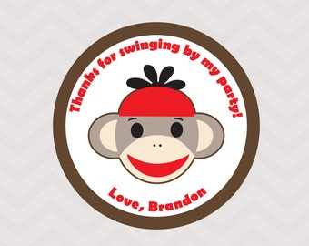 Sock Monkey Cupcake Toppers, Favor Tags, Party Circles - Digital File