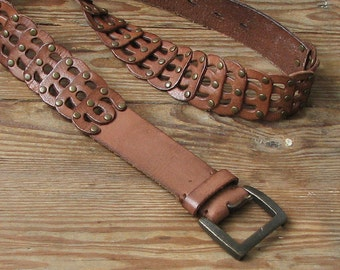 Boho Accessory Vintage Brown leather belt , Boho Rustic Style, Women Fashion, Plaited Genuine Leather Belt