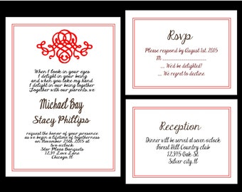 Wedding Invitations, PRINTABLE DIY French love Black and red  includes rsvp and reservation