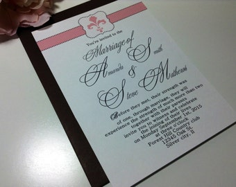 Classic motif wedding invitation suite ,  Vintage pink wedding invitations, Handmade custom invites