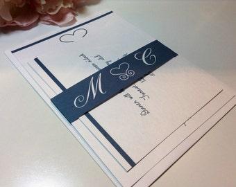 100 Wedding Invitations, invites  Lovely hearts monogram invites