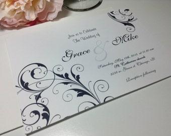 100 Wedding Invitations, invites Black elegant Scroll invites