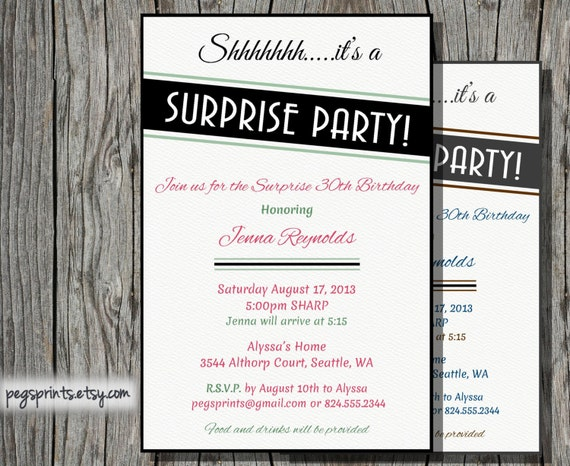 Surprise anniversaire invitation adulte imprimable par pegsprints - Invitation anniversaire surprise ...