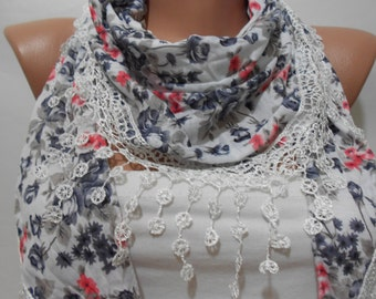 Floral Scarf Boho Scarf Spring Summer Fall Winter Scarf Bohemian Women Fashion Accessories Christmas Gift For Her Gift For Women ScarfClub