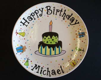 Custom Name Personalized Hand Painted Ceramic Birthday Plate or Special Occasion Plate