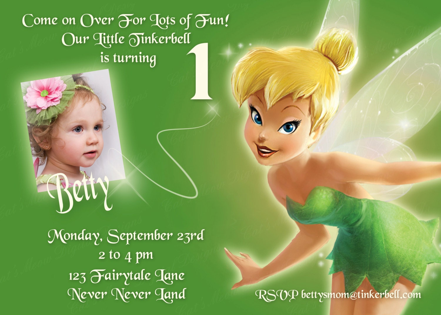 Tinkerbell Printable Invitation Personalized Tinkerbell