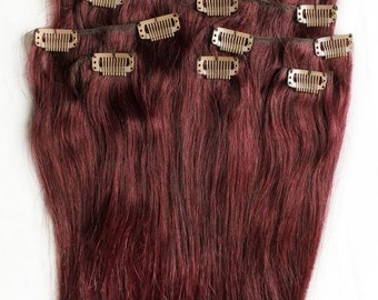 20 inches 7pcs Clip In Human Hair Extensions 99J Red Wine