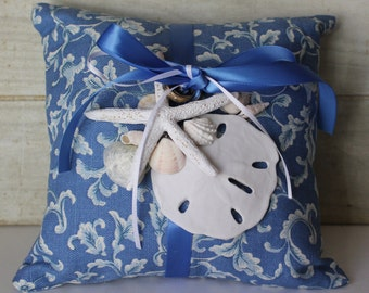 SALE! - Wedding Ring Bearer  Pillow - Nautical - Beach - Seashells - Sand Dollar - Star Fish - Blue and White - Cottage Chic