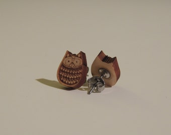 Cute Owl Wood Earrings