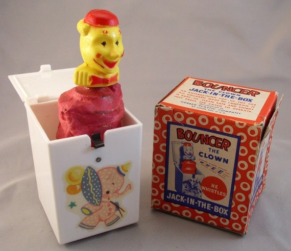 Gerber BOUNCER The Clown Jack-In-The-Box 1950s MIB