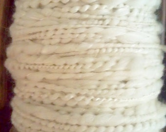 Handspun Thick N Thin Yarn -Spiral Ply - Merino and Cultivated Silk White Undyed Natural