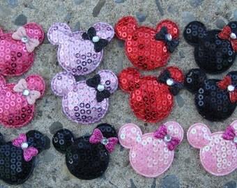 12 Minnie Mouse Sequin heads hair bow center craft supplies