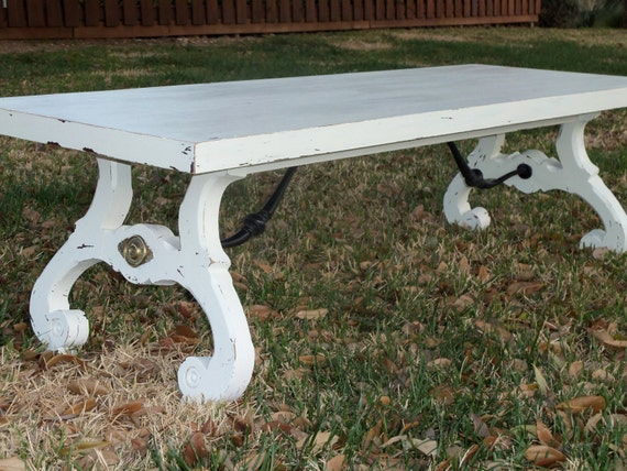 Shabby and Chic Antique 1930s White Trestle Coffee Table