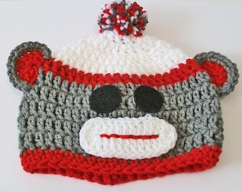 Classic Gray and Red Sock Monkey Hand Crocheted Baby and Childrens Hat Great Photo Prop 5 Sizes Available