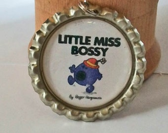 Cute Little Miss Bossy Inspired Flattened Bottlecap Pendant Necklace