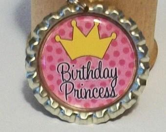Cute Pink Polka Dot Birthday Princess Flattened Bottlecap Pendant Necklace
