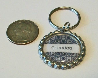 Black and Gray Geometric Pattern Grandad Grandfather Metal Flattened Bottlecap Keychain Great Gift