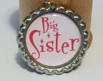 Cute Hot Pink Big Sister Flattened Bottlecap Pendant Necklace
