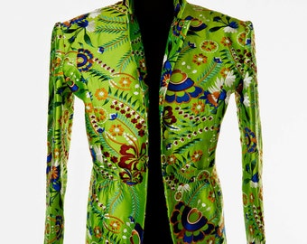 Silk Lotus Jacket in Kaleidoscope Lime
