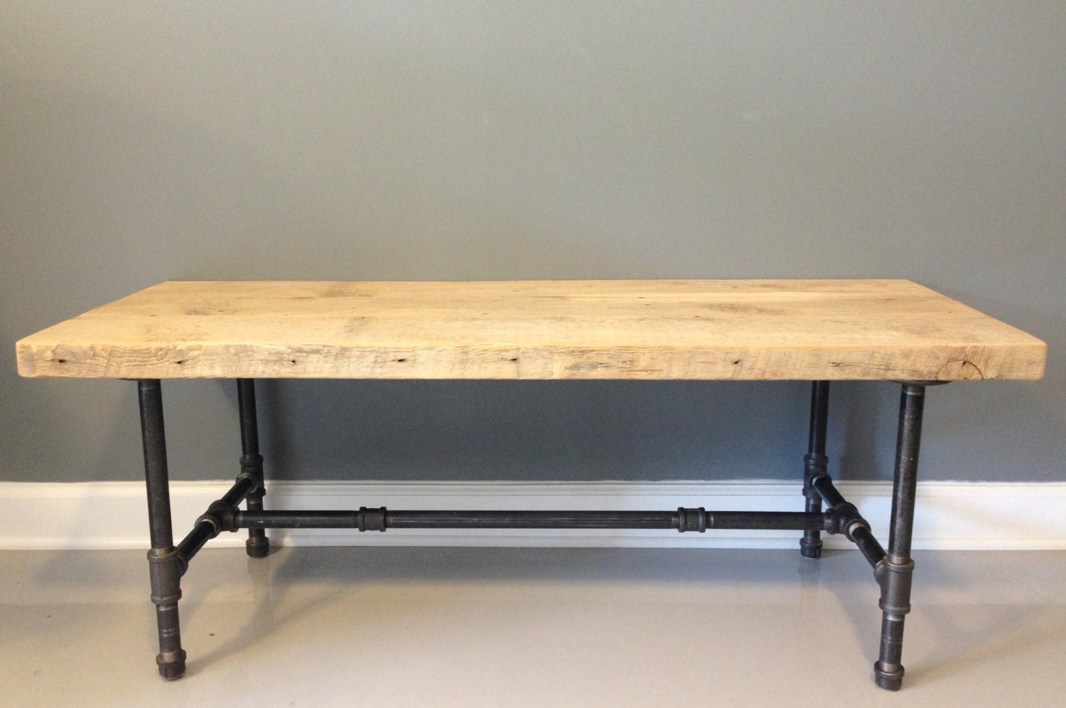 Reclaimed Wood Coffee Table Industrial Galvanized Pipe Reclaimed  Reclaimed Wood Coffee Table With Industrial Pipe Legs by DendroCo