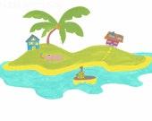 Art for kids, kids room art, Childrens nursery art print, childrens print, Little Island, 8 x 10 print.